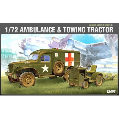 U.S. Ambulance & Tow Truck WWII Ground Vehicle Set-4 (1/72 code 13403)