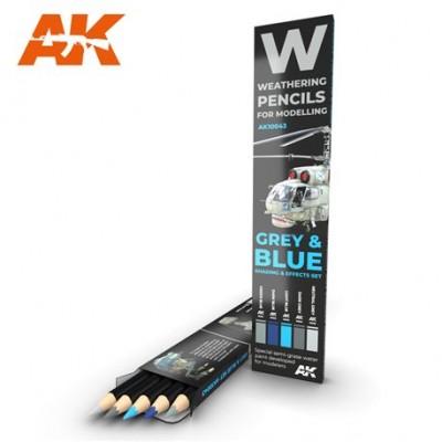 WATERCOLOR PENCIL SET grey and blue