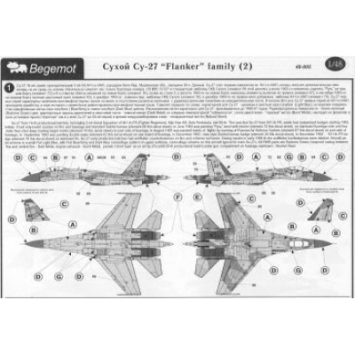 DECALS Sukhoi Su-27 Flanker Family Part 2 (1/48 code 48005 )