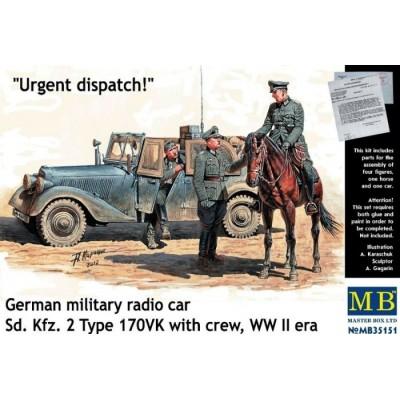 Urgent dispatch. German military radio car Sd.Kfz. 2 Type 170VK with crew ( 1/35 code 35151 )