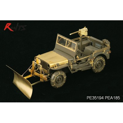 U.S. Jeep Willys MB snow plow w/ tyre chains For TAMIYA ( 1/35 code 185 )